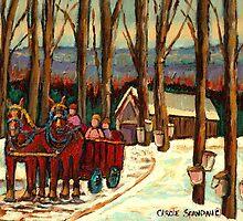 VERMONT SUGAR SHACK BEAUTIFUL WINTER LANDSCAPE  by Carole  Spandau