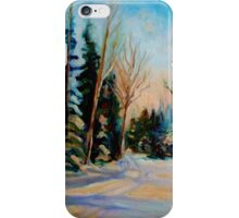 CANADIAN WINTER SCENE PAINTINGS WINTER ROAD BY CANADIAN ARTIST CAROLE SPANDAU iPhone Case/Skin