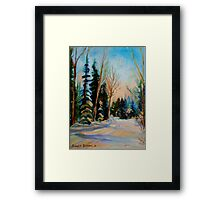 CANADIAN WINTER SCENE PAINTINGS WINTER ROAD BY CANADIAN ARTIST CAROLE SPANDAU Framed Print