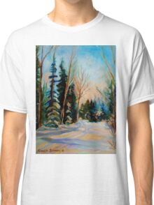 CANADIAN WINTER SCENE PAINTINGS WINTER ROAD BY CANADIAN ARTIST CAROLE SPANDAU Classic T-Shirt