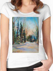 CANADIAN WINTER SCENE PAINTINGS WINTER ROAD BY CANADIAN ARTIST CAROLE SPANDAU Women's Fitted Scoop T-Shirt