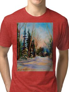 CANADIAN WINTER SCENE PAINTINGS WINTER ROAD BY CANADIAN ARTIST CAROLE SPANDAU Tri-blend T-Shirt