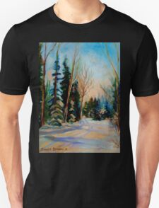 CANADIAN WINTER SCENE PAINTINGS WINTER ROAD BY CANADIAN ARTIST CAROLE SPANDAU T-Shirt