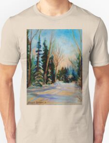 CANADIAN WINTER SCENE PAINTINGS WINTER ROAD BY CANADIAN ARTIST CAROLE SPANDAU Unisex T-Shirt
