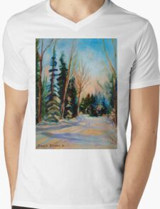 CANADIAN WINTER SCENE PAINTINGS WINTER ROAD BY CANADIAN ARTIST CAROLE SPANDAU Mens V-Neck T-Shirt