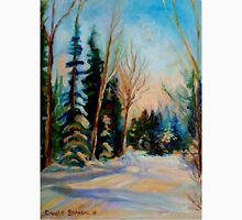 CANADIAN WINTER SCENE PAINTINGS WINTER ROAD BY CANADIAN ARTIST CAROLE SPANDAU Unisex T-Shirt