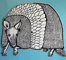 Black & White & Blue Armadillo by WheeeTreees