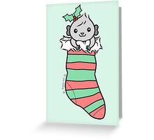 Grey Guinea-pig in Christmas Stocking  Greeting Card