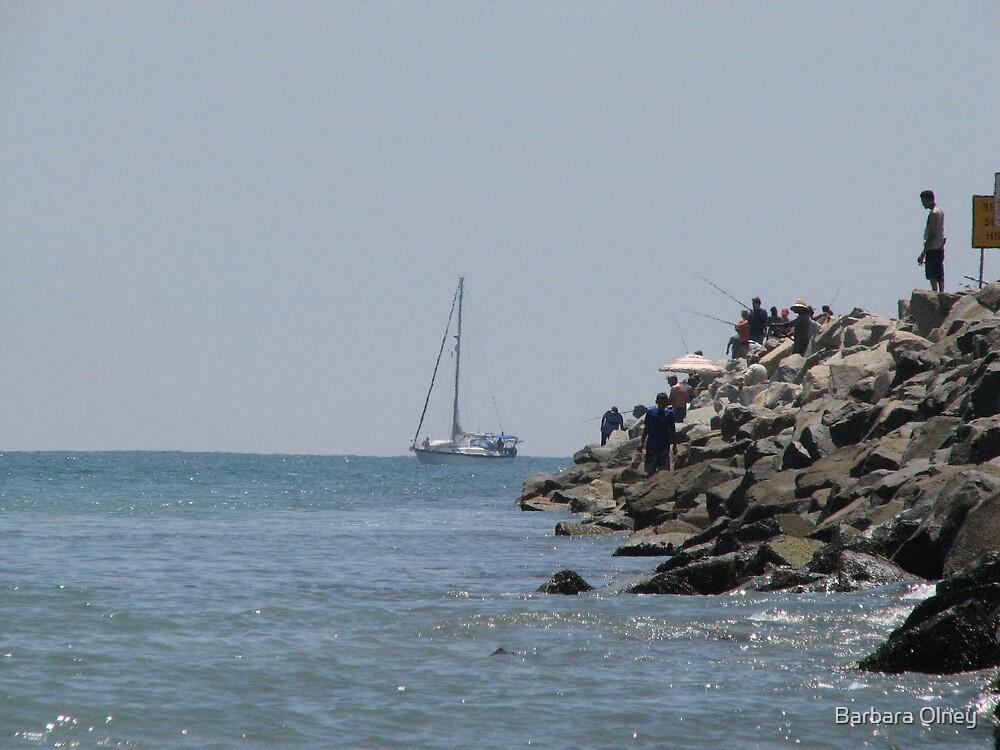 Fishing off Jetty at Doheny by Barbara Olney