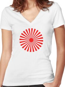 Circular Sun Red Rays Pattern Women's Fitted V-Neck T-Shirt