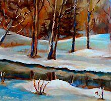 WINTER TREES NEAR RIVER CANADIAN ART CANADIAN PAINTING BY CANADIAN ARTIST CAROLE SPANDAU by Carole  Spandau
