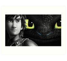 Hiccup and Toothless Art Print