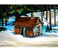 SUGAR SHACK IN THE WOODS SPRING IS NEAR CANADIAN PAINTINGS AND CANADIAN ART BY CANNADIAN ARTIST CAROLE SPANDAU Photographic Print