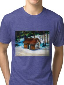 SUGAR SHACK IN THE WOODS SPRING IS NEAR CANADIAN PAINTINGS AND CANADIAN ART BY CANNADIAN ARTIST CAROLE SPANDAU Tri-blend T-Shirt