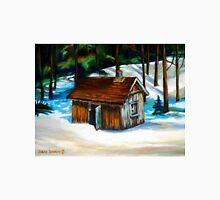 SUGAR SHACK IN THE WOODS SPRING IS NEAR CANADIAN PAINTINGS AND CANADIAN ART BY CANNADIAN ARTIST CAROLE SPANDAU Unisex T-Shirt