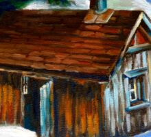 SUGAR SHACK IN THE WOODS SPRING IS NEAR CANADIAN PAINTINGS AND CANADIAN ART BY CANNADIAN ARTIST CAROLE SPANDAU Sticker