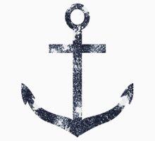 Blue Grunge Nautical Anchor Kids Tee