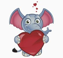 Elephant Holding A Love Heart Kids Tee