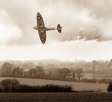 Eagle over England, sepia version by Gary Eason + Flight Artworks