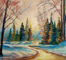 WINTER LANDSCAPE OF CANADA BY CANADIAN ARTIST CAROLE SPANDAU by Carole  Spandau
