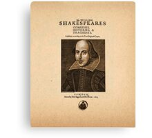 Shakespeare First Folio Front Piece Canvas Print