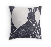Hare and Moon Lino Print Throw Pillow