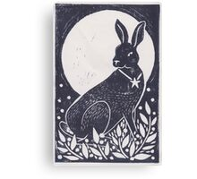 Hare and Moon Lino Print Canvas Print