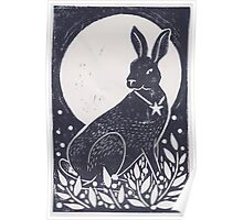Hare and Moon Lino Print Poster