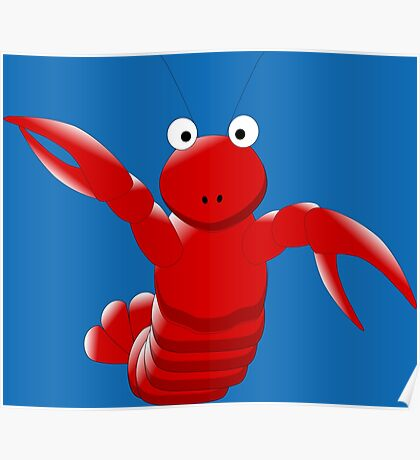Cute Funny Cartoon Sea Ocean Lobster Character Doodle Animal Drawing Poster