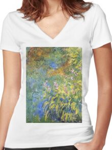 Claude Monet - Irises 3 1917 Women's Fitted V-Neck T-Shirt