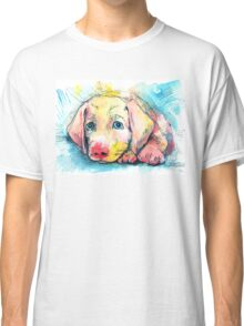 puppy on a blue background, watercolor sketch Classic T-Shirt