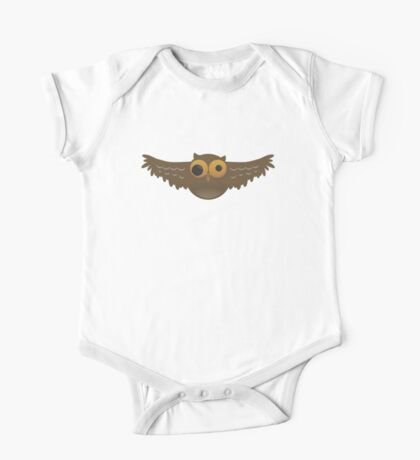Cute Funny Cartoon Silly Flying Owl Character Doodle Animal Drawing One Piece - Short Sleeve