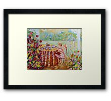 LITTLE GIRL IN THE GARDEN BEAUTIFUL SUMMER SCENE PAINTING Framed Print