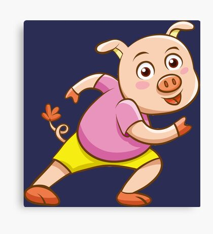 Cute Funny Sporting Pig Marathon Athlete Running Character Drawing Canvas Print