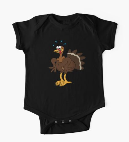 Cute Funny Cartoon Silly Thanksgiving Turkey  Character Doodle Animal Drawing One Piece - Short Sleeve