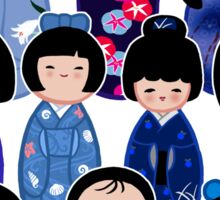 Kokeshi in Blue Sticker