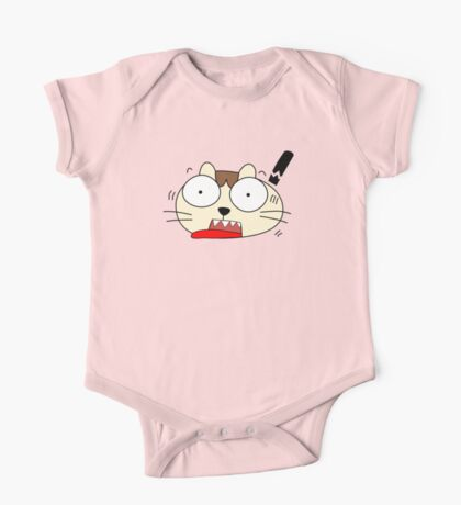 Cute Funny Cartoon Silly Confused Cat Character Doodle Animal Drawing One Piece - Short Sleeve
