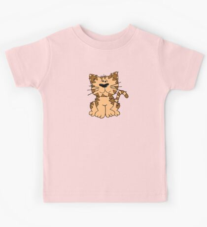 Cute Funny Cartoon Silly Brown Tiger Cat Character Doodle Animal Drawing Kids Tee
