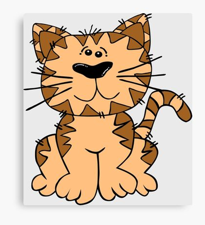 Cute Funny Cartoon Silly Brown Tiger Cat Character Doodle Animal Drawing Canvas Print