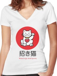 Maneki Neko, lucky cat Women's Fitted V-Neck T-Shirt