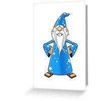 Blue Old Wizard - Hands On Hips Greeting Card