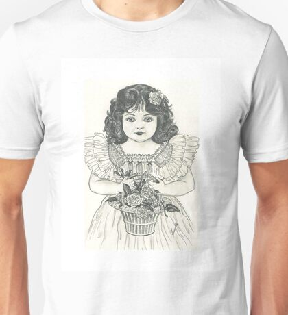 victorian girl with basket of flowers  Unisex T-Shirt