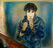 ELVIS PRESLEY ROCK STAR PORTRAIT AND STILL LIFE WITH RECORDS PAINTING by Carole  Spandau