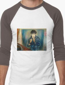 ELVIS PRESLEY ROCK STAR PORTRAIT AND STILL LIFE WITH RECORDS PAINTING Men's Baseball ¾ T-Shirt
