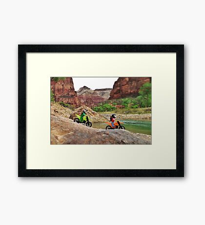 Jerry & William on bikes Framed Print
