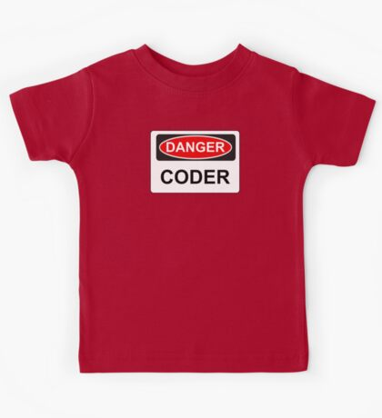 Danger Coder - Warning Sign Kids Tee