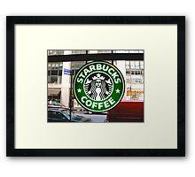 Time Square Starbucks Framed Print