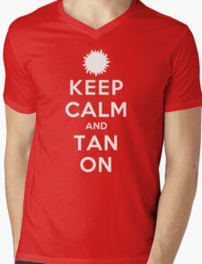 Keep Calm and Tan On (DS) Mens V-Neck T-Shirt