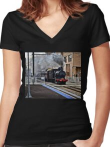 Steam Engine 3237 - The Last Ride Out of Newcastle NSW Women's Fitted V-Neck T-Shirt