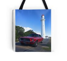 Ford Mustang and Lighthouse Tote Bag